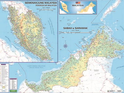Map Of Malaysia East And West Supplier Malaysia Map Of Malaysia